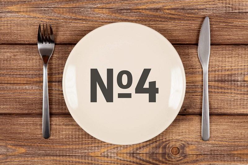 Продукты питания в меню стола номер 4
